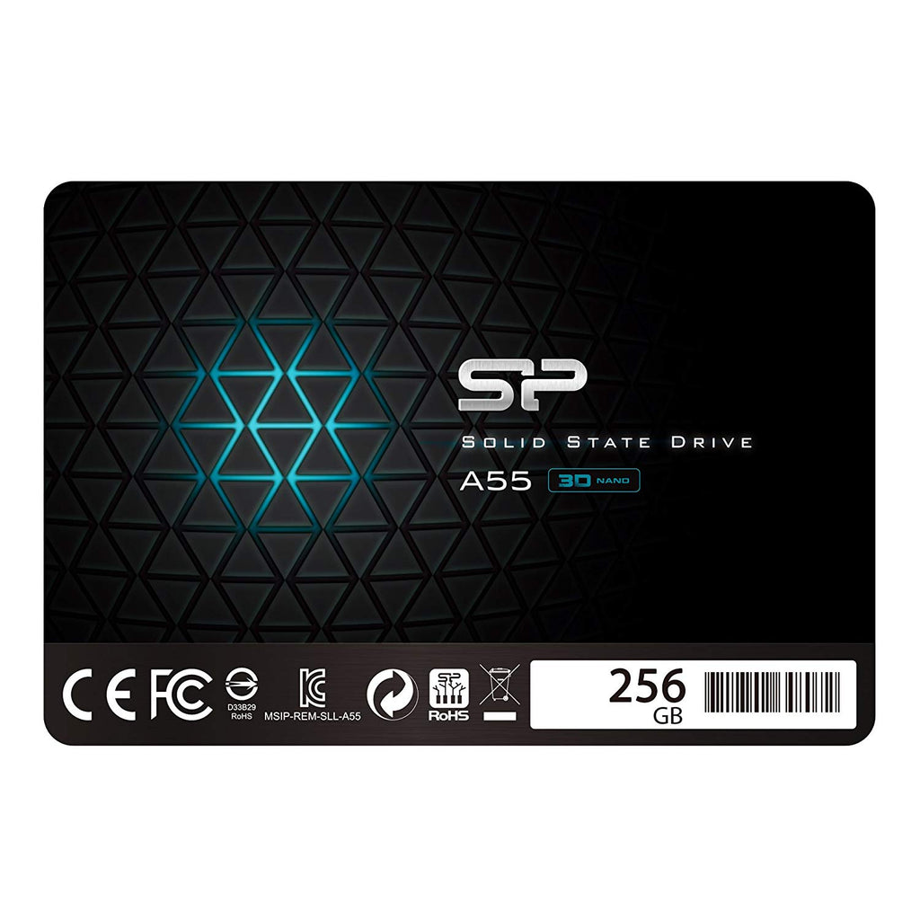 "Silicon Power 256GB SSD 3D NAND A55 SLC Cache Performance Boost SATA III 2.5"" 7mm (0.28"") Internal Solid State Drive (SP256GBSS3A55S25)"