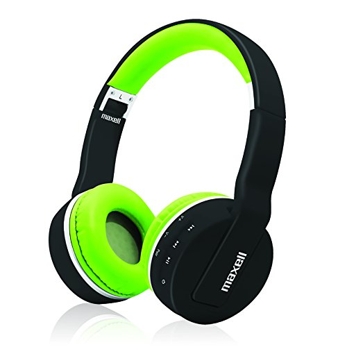 Maxell Foldable Wireless Bluetooth Soft Cushioned Headphones with Micro USB Charging Port & Mic 6 Hour Charge Life - Black/Green Headphone (199752)