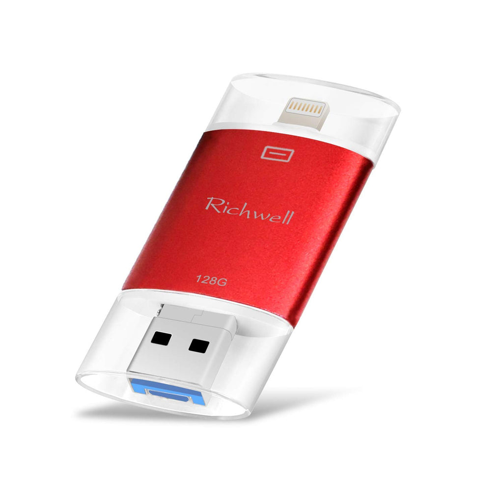 Richwell USB Flash Drive 128GB USB Stick Apply to iPhone Memory Stick Storage Encrypted usb3.0 3in1 OTG Thumb Drive Compatible iPhone iPad Android and Computer (Red128G-SG)