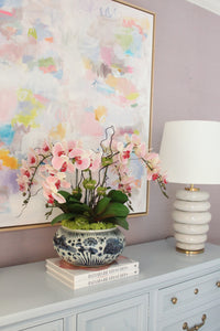 Blush Orchids in Blue and White Fish Bowl