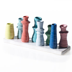Mid-Mod Multi Colored Ceramic Budvase