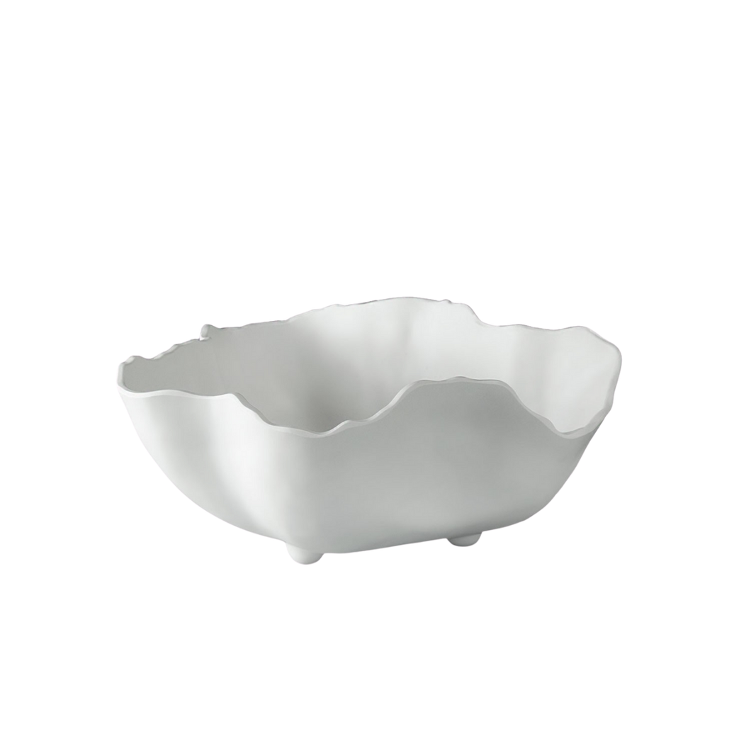 Large Wavy Bowl in White Melamine