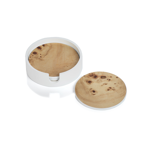 Round Burl Coasters in White Holder, Set of 4
