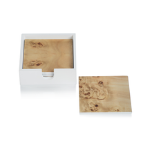 Square Burl Coasters in White Box, Set of 4