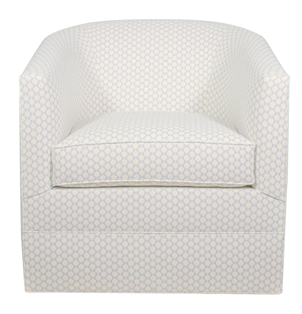 Liza Swivel Chair in Baby Blue Geometric