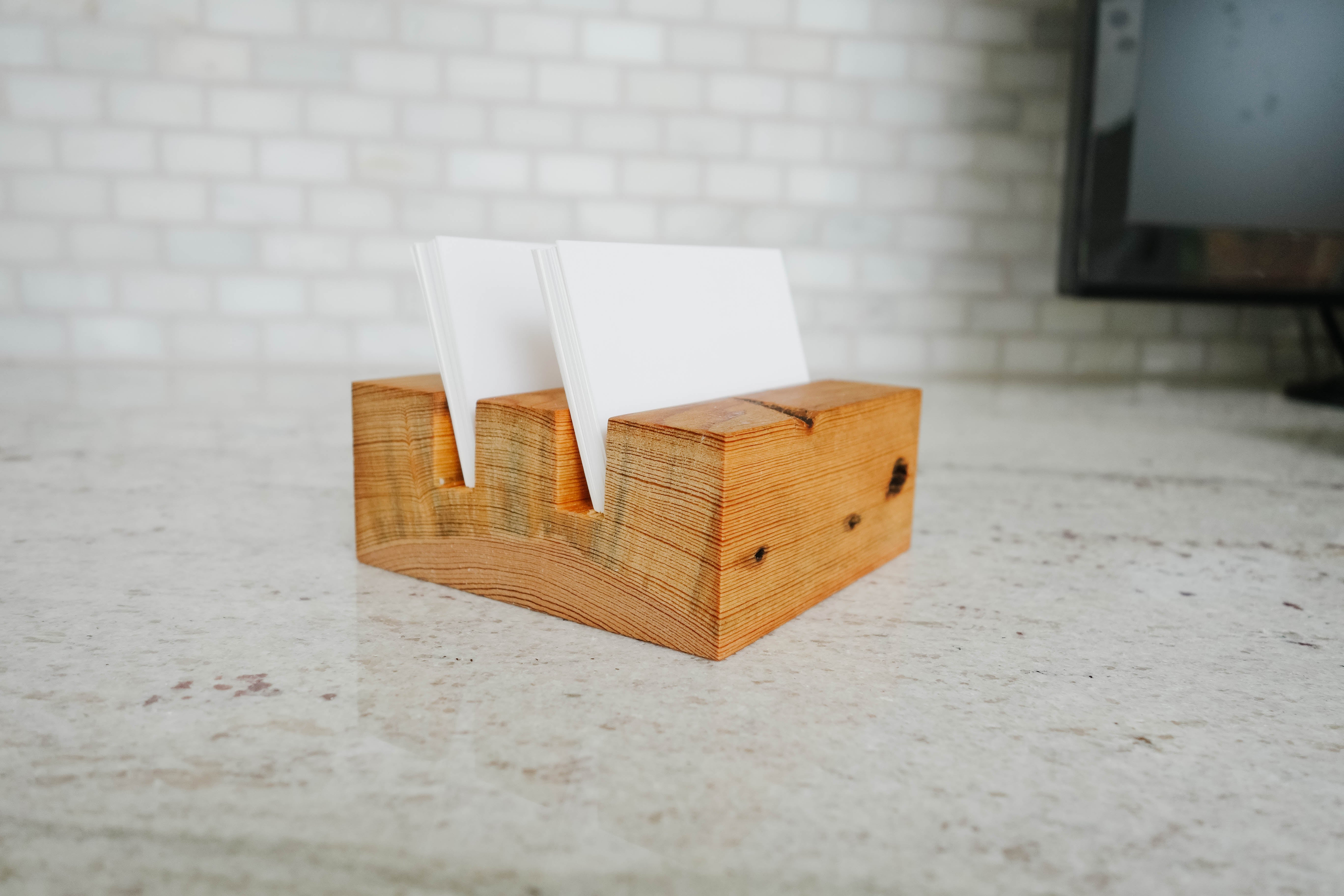 Wood card holder