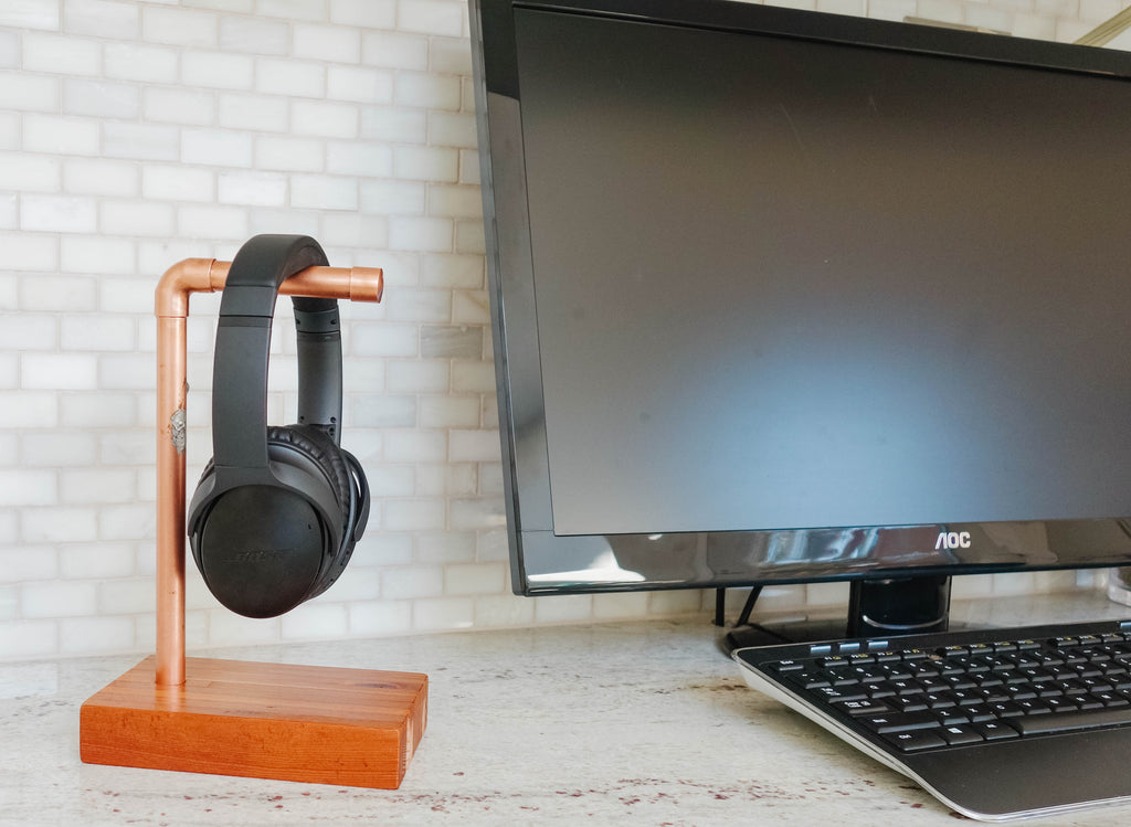 Copper and Reclaimed Wood Headphone Stand