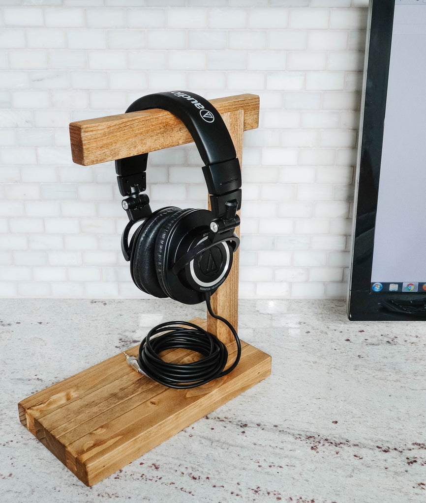 wood headphone/headset stand/display, handmade, headphone holder