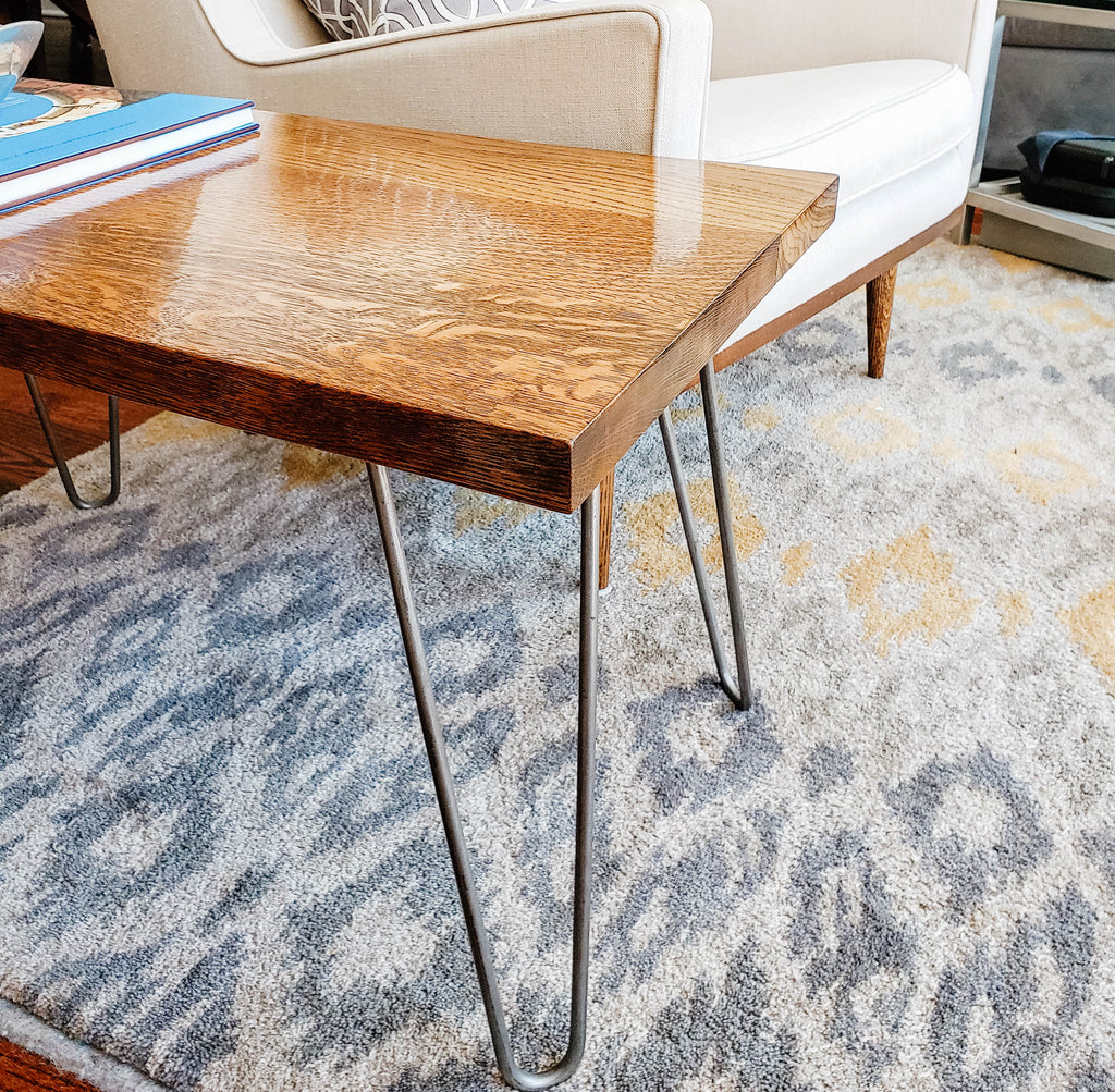 Custom Reclaimed Wood Side Table - Mid-century Modern