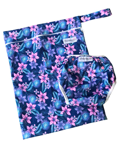 Swim Nappy and Wet Bag Set - Floral Galaxy