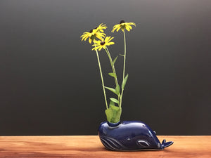 whale bud vase / royal blue