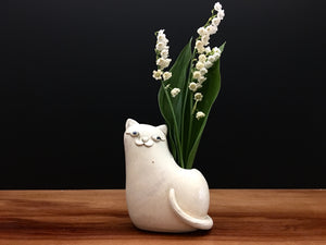 kitty cat vase / cream and sugar