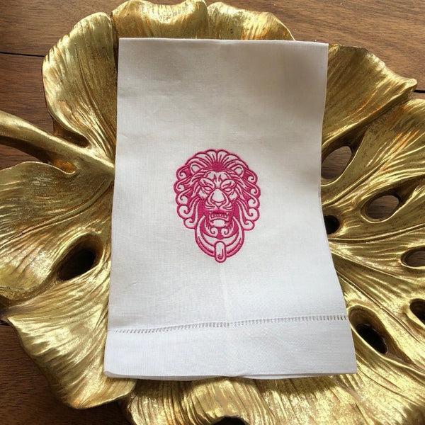 Lion Door Monogram Guest Towel