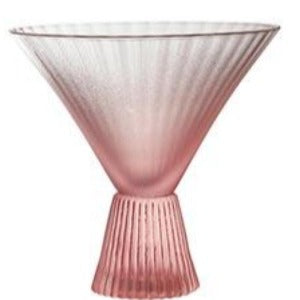 Pink Frosted Beveled Martini Glass