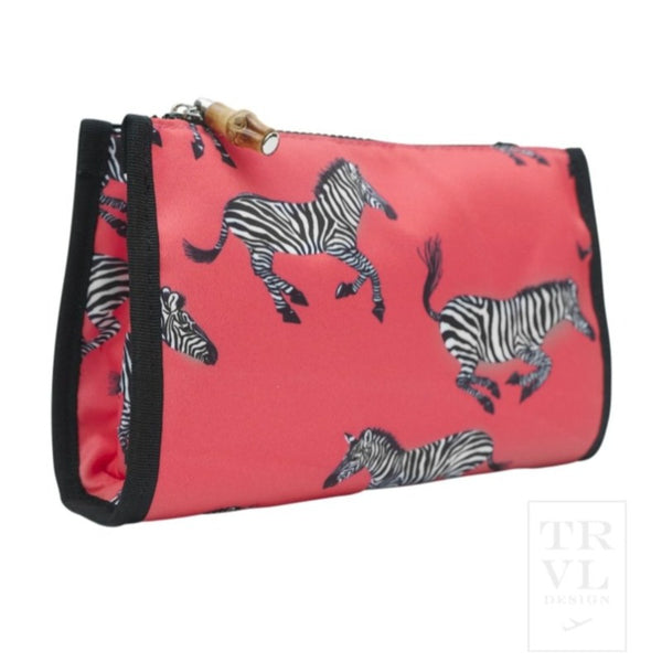 Coral Zebra Day Tripper Makeup Pouch