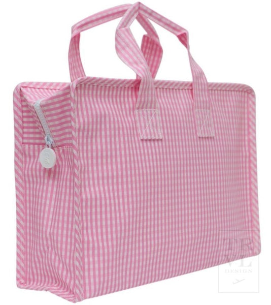 Pink Gingham Overnight Tote
