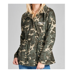 """P.R.E.T.T.Y."" Camo hooded jacket"