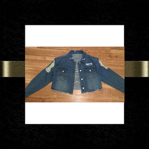 """P.R.E.T.T.Y."" Distressed crop jean jacket"