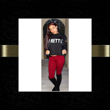 """P.R.E.T.T.Y."" Crop hoodie sweater"