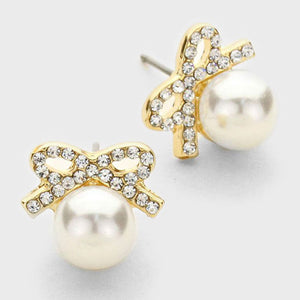 Crystal Bow Pearl Drop Earrings