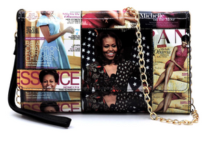 Michelle Obama magazine print clutch, wallet, cellphone purse
