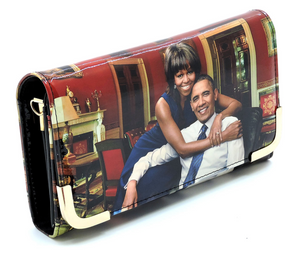 The Obama's Magazine Print Crossbody Clutch Wallet