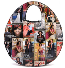 Obama Magazine Cover Collage Fringe Studded Round Satchel & Wallet Set