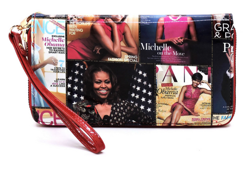 Obama Magazine Cover Collage Zip Around Wallet