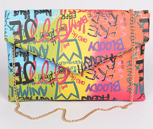 Graffiti Cross Chain Body Clutch