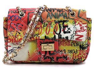 Graffiti Print Quilted Convertible Shoulder Bag