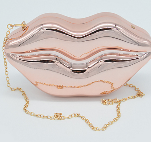 Lips Clutch with chain strap