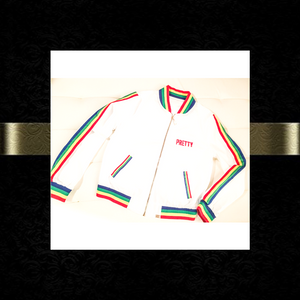"""P.R.E.T.T.Y."" Rainbow striped bomber jacket"
