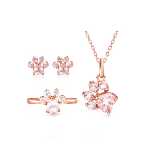 Rose Gold Paw Ring, Necklace, & Earring Set