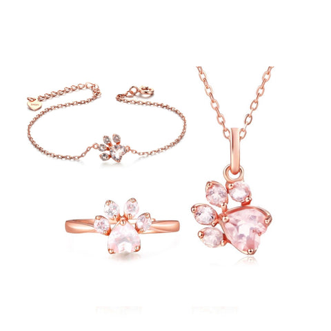 Rose Gold Paw Ring, Necklace, & Bracelet Set