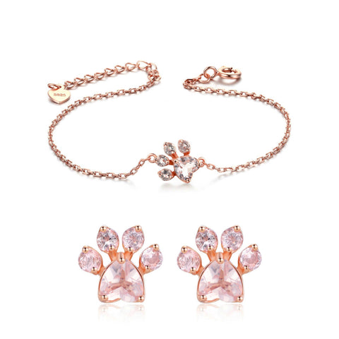 Rose Gold Paw Bracelet & Rose Gols Paw Earrings Set