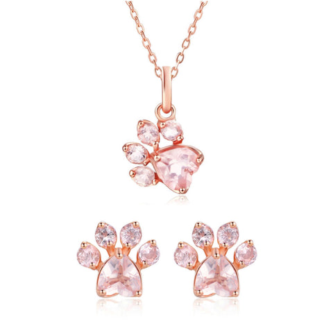 Rose Gold Paw Necklace & Rose Gold Paw Earring Set