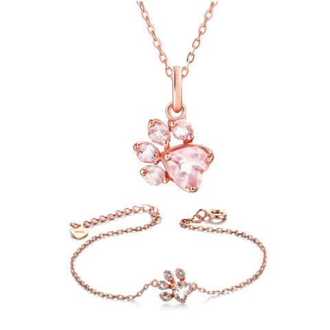 Rose Gold Paw Necklace & Rose Gold Paw Bracelet Set