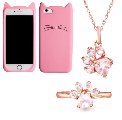 "Pink ""I'm a Cat"" iPhone Case & Rose Gold Paw Ring & Necklace Set"