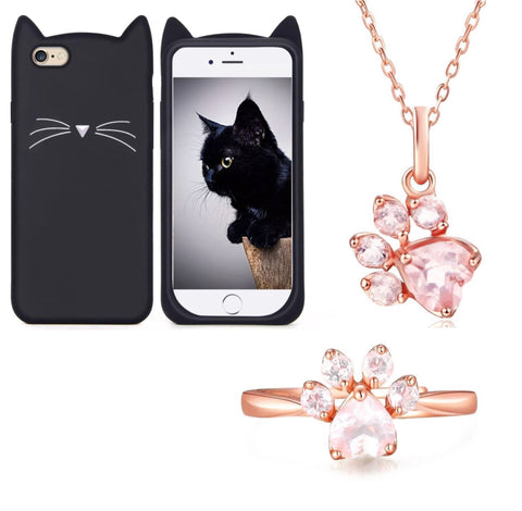 "Black ""I'm a Cat"" iPhone Case & Rose Gold Paw Ring & Necklace Set"