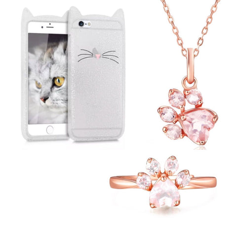 "Glitter White ""I'm a Cat"" iPhone Case & Rose Gold Paw Ring & Necklace Set"