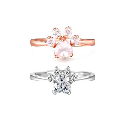 Rose Gold Paw Ring & Silver Paw Ring Set