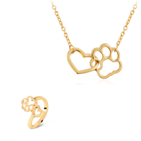 Gold Paw Heart Necklace and Ring set
