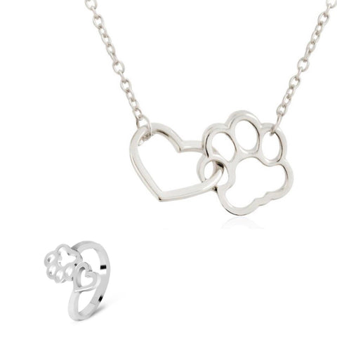 Silver Heart Paw Necklace And Ring Set