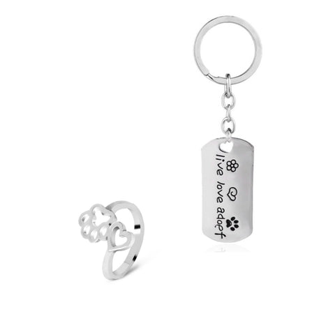 Live, Love, Adopt Keychain & Paw Ring Set