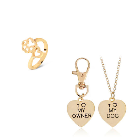 "Gold 2pc ""I love my dog"", ""I love my owner"" Necklace & Paw Ring Set"