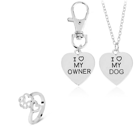 "Silver 2pc ""I love my dog"", ""I love my owner"" Necklace & Paw Ring Set"