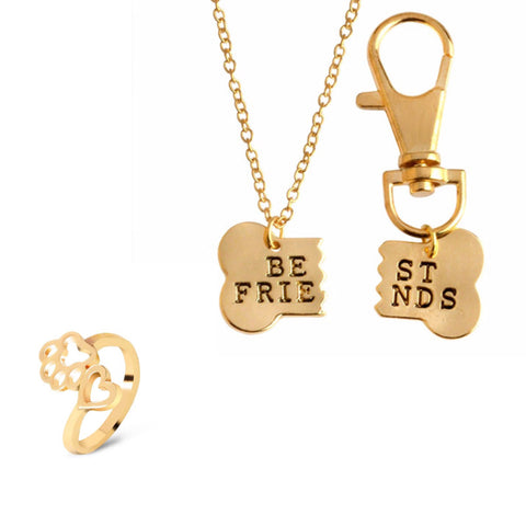 Gold 2pc Best Friend Necklace for you and your dog & Paw Ring Set