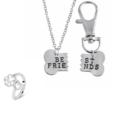 Silver 2pc Best Friend Necklace for you and your dog & Paw Ring Set