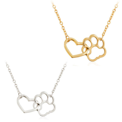 2 Pack of Interlocking Paw Heart Necklaces Set