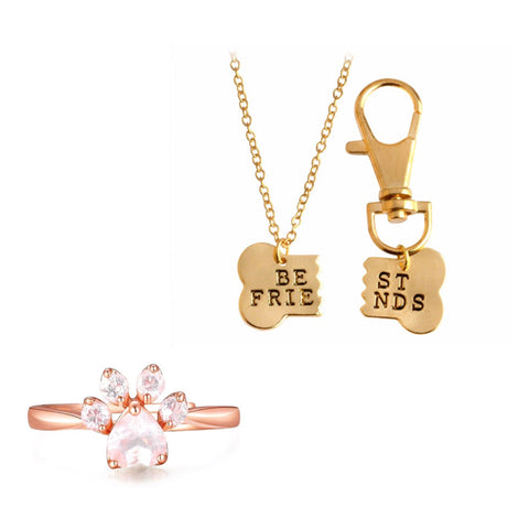 Rose Gold Paw Ring and BFF Necklace Set